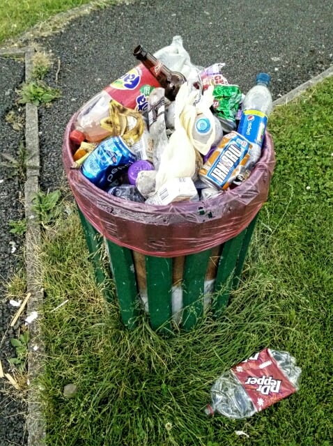 Overflowing Bin in Top Park Ramsbottom