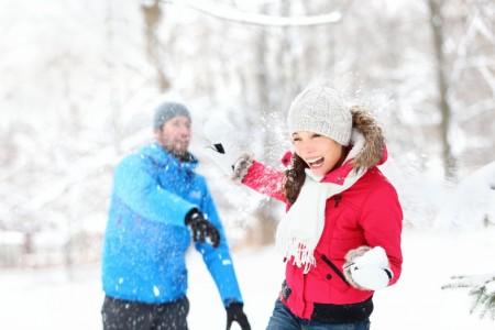 Couple in snow fun