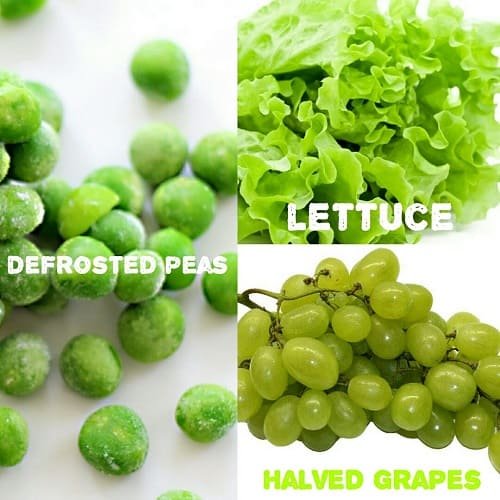 Defrosted Peas, Lettuce, Grapes Halved